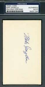 Mike-Gazella-Psa-Dna-Autograph-3x5-Index-Card-Hand-Signed-Authentic-27-Yankees