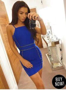 AX Paris Women's Spaghettis Sleeve Mini Dress Blue Studded Size 8