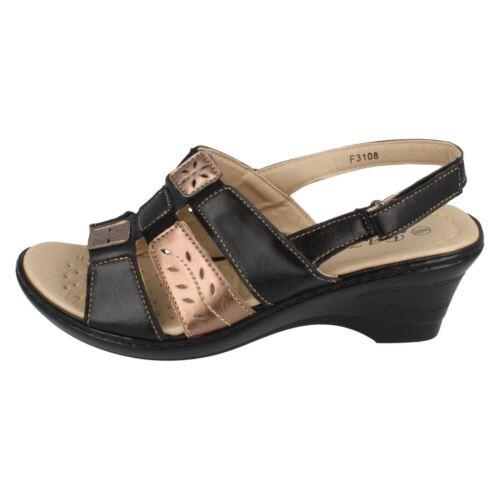 Eaze F3108 Ladies Black//Bronze Slingback Casual Sandals