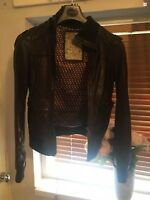 Beautiful Zara Chocolate Brown Butter Soft Leather Jacket To Suit Size 8 XS
