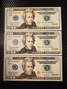 2017 $20 FEDERAL RESERVE STAR NOTE LOT CONSECUTIVE GEM UNC FRESH FROM WRAP. 2