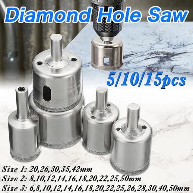 5 Diamond Hole Saw Set Drill Bit Tile Gl Marble Granite Slate Cutting 20 42mm