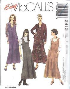 UNCUT-McCalls-Sewing-Pattern-Misses-Jumper-Shirt-Jacket-Top-2412-NEW-OOP-SEW-FF