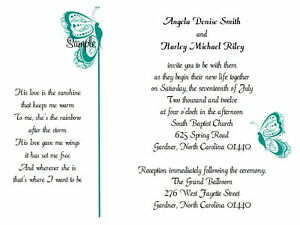86afaa05eb3 Image is loading 100-Personalized-Custom-Turquoise-Butterfly-Bridal-Wedding- Invitations-