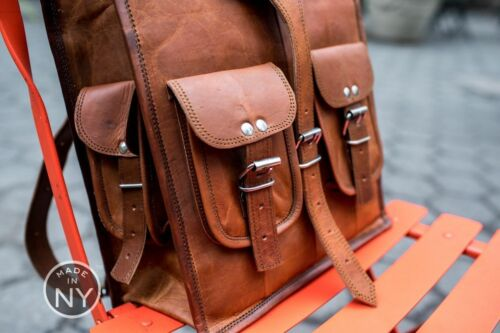 Men/'s Real Leather Carry On Backpack Laptop Bag Large Hiking Travel Camping New