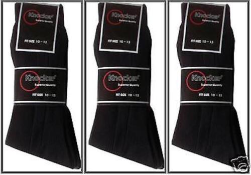 3 Pairs Mens BLACK 10-13 Ribbed Formal Wear Quality Dress Socks Knocker