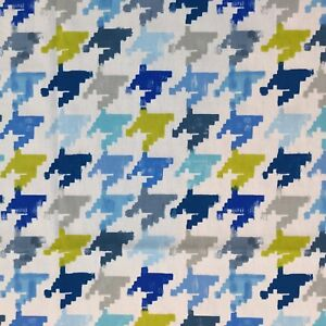 20m Clearance Roll Prestigious Textiles Nevada Cobalt Houndstooth Cotton Fabric