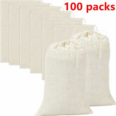 100 Pack Cotton Muslin White Drawstring Bags Large Bulk Herbs Tea E Bag Ebay