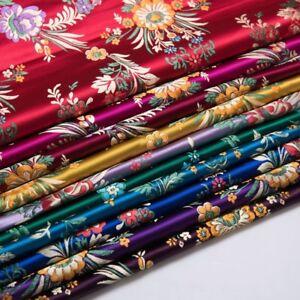 Retro-Chinese-Satin-Floral-Fabric-Begonia-Damask-Brocade-DIY-Bag-Clothes-Craft