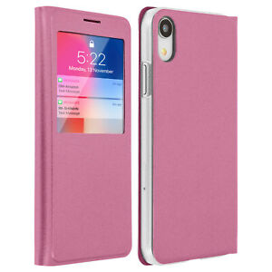 SMART-View-Finestra-Flip-Case-per-Apple-iPhone-XR-Coperchio-Sottile-Rosa
