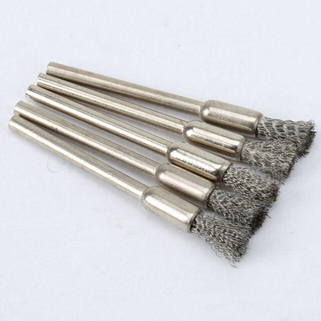 5pcs Stahl Bleistift Draht Rad Topfbürsten-Set Zubehör für Drehwerkzeug