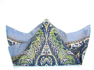 Rare-Women-039-s-THOMAS-PINK-Silk-Scarf-Blue-Paisley-Italian-Hand-Rolled-21-Inch-Sq