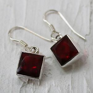 Granat-Ohrringe-Silber-925-Ohrhaenger-Rot-Elegant-Quadrat-facettiert-eckig-ts