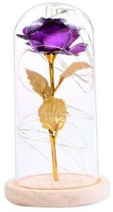 Rose Éternelle Violet Sous Dôme En Verre Led Fleurs Cadeaux Anniversaire Mariage