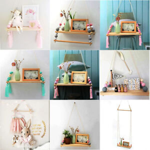 Image is loading Wall-Hanging-Shelf-Wood-Rope-Swing-Shelves-Baby- : hanging shelf storage  - Aquiesqueretaro.Com