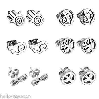 6Pair/Set Sliver Stainless Steel Fashion Womens Girls Mixed Stud Earrings