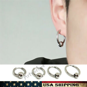 Image Is Loading Stainless Steel Circle Beads Huggie Hinged Hoop Earrings