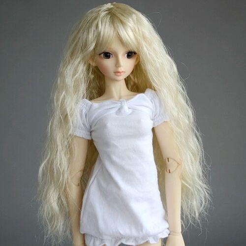 "023# Light Golden Long  Wavy Wig Curl Is 1//3 SD AOD BJD Dollfie 8-9/"" PF"