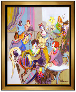 481dc2be81b84 Details about Isaac Maimon Large Original Painting Acrylic On Canvas Signed  Ladies Cafe Art