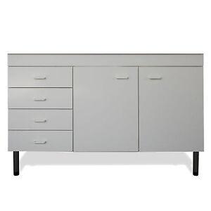 Mobile sottolavello 120x50 cm bianco per la cucina con 2 ante e cassettiera sin ebay - Mobile sottolavello cucina ...