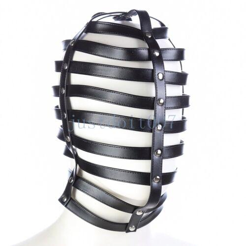 Faux Leather Soft Hood Hollow BDSM Headgear head Harness Slave Bondage roleplay
