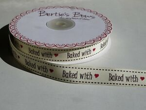 5m-Bertie-039-s-Bows-Ivory-034-Baked-With-034-Print-16mm-Grosgrain-Ribbon-Gift-Wrap-Label
