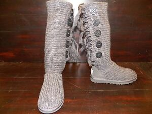 d444dc5062d Details about New RARE Womens UGG Cardy Fringe Charcoal Grey Tall Boots 5  Button Knit Gray