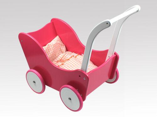 Holzpuppenwagen ROSA/WEISS Bettwäsche, dolls pram, Lauflernwagen  ohne Bremse