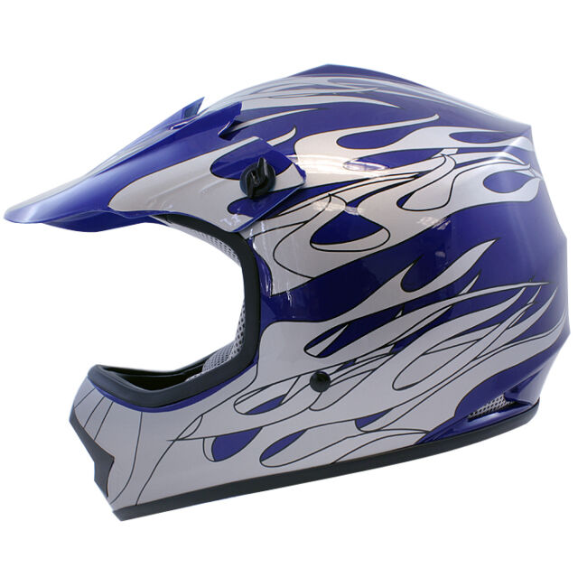 Youth & Kids Blue Silver Flame Dirtbike Off-Road ATV Motocross Helmet MX~S,M,L