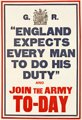W79 Vintage WWI England Expects Do Your Duty Join The Army Poster WW1 A1 A2 A3