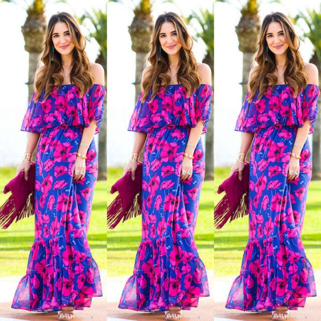 Vestido de Verano Largo Boho Floral Mujeres Flores Fiesta en la Playa Chiffon
