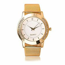Armbanduhr Damenuhr gold Strass Analog Damen Mädchen Metallarmband Uhr weiss NEU