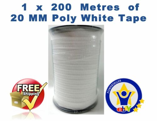 ELECTRIC FENCE TAPE 200 metre 20mm White Poly Fencing Horse Paddock 200 M
