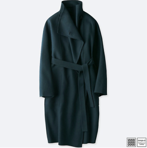 NWT Uniqlo U Double Face Wrap Wool Long Coat Christophe Lemaire Navy bluee XS S