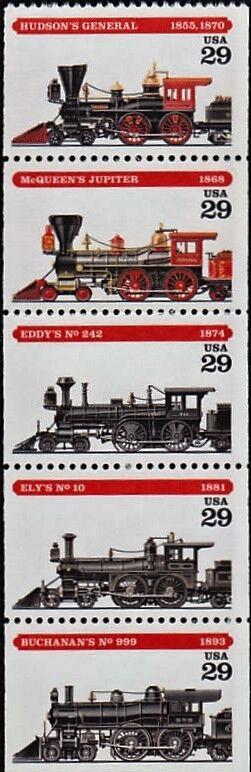 1994 29c American Steam Locomotive, Booklet Pane of 5 S
