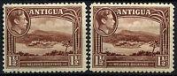 Antigua 1938-51 SG#100, 100a 1.5d x 2 Shades KGVI MH #D42157
