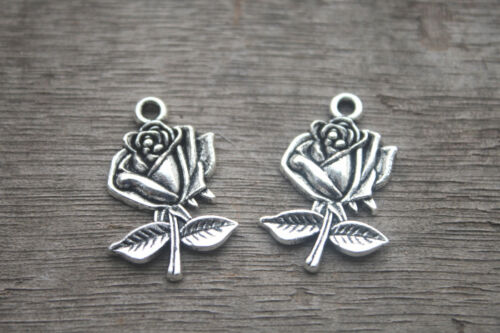 15pcs Rose Charms silver Vintage Rose Flowers  Leaves charms pendants 25x17mm