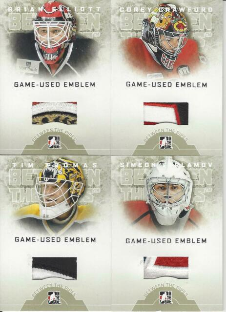 2008-09 IN THE GAME BETWEEN THE PIPES COREY CRAWFORD GAME USED EMBLEM