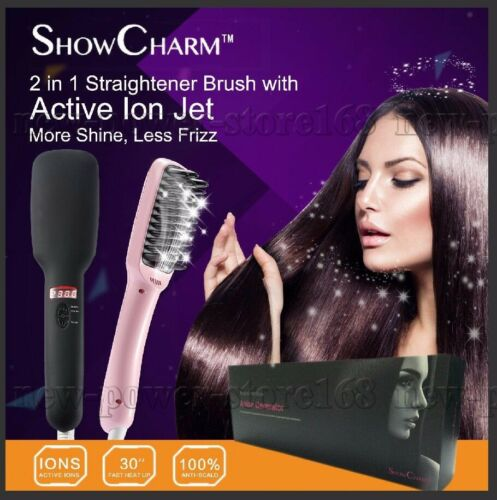 1 of 1 - Black ShowCharm Ionic Electric Hair Straightener Brush Comb LED Straightening