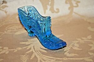 Vintage-6-034-Aquamarine-Blue-Daisy-Button-amp-Bow-Pattern-Glass-Slipper-Shoe-Planter