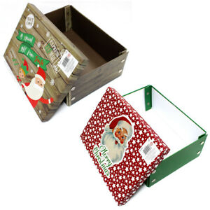 Details About Christmas Gift Boxes Father Christmas Or Elf Design Small Or Large Box