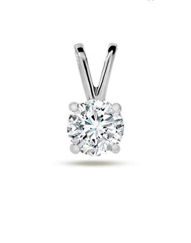 Solid 14kt White Gold Round Solitaire pendant Basket setting Real gold