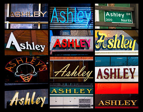 ASHLEY Name Poster featuring actual sign photos