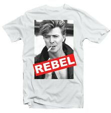 David Bowie REBEL quality white cotton printed t-shirt 9372