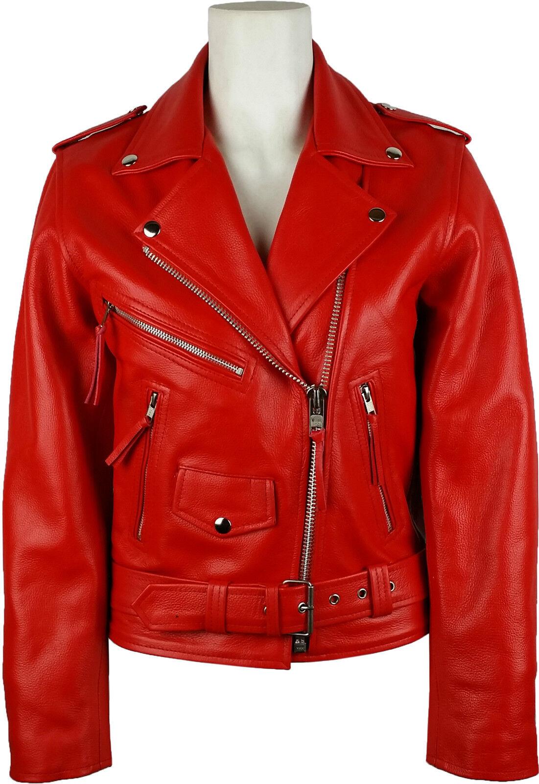 UNICORN Femme Classique Brando le Style Motard - Réal Cuir Veste - red Z