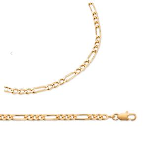 Chaîne Maille Figaro 55cm X 4,7MM En Plaqué Or 18 carats NEUF Bijoux Homme