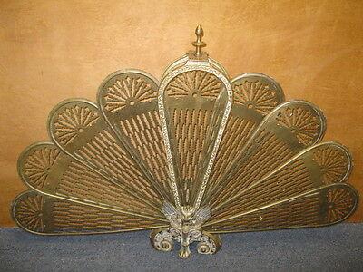 Brass & Bronze Folding Gargoyle Fan FIREPLACE SCREEN ...