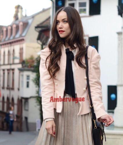 Zara Nude Veste Peplum Boutons Uk Velvet Pearl S 8 Taille Pink qO1darq
