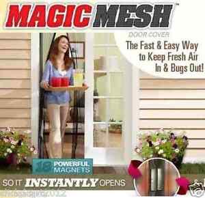 Magic-Mesh-Hands-Free-Anti-Mosquito-Bug-Screen-Door-Curtain-Black