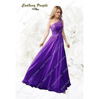 UK Long Chiffon Formal Evening Prom Party Bridesmaid Dresses Lace back